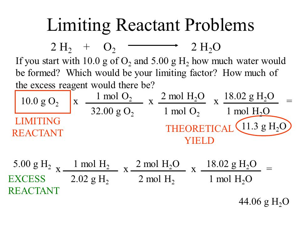 Limiting Reactant Problems If you start with 10.0 g of O 2 and 5.00 g H 2 how much water would be formed? Which would be your limiting factor? How muc
