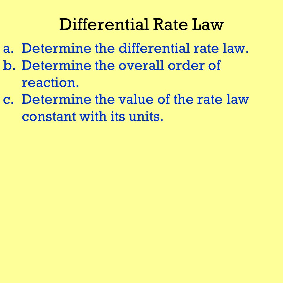 Differential Rate Law a.Determine the differential rate law.