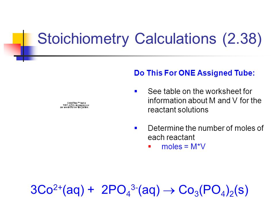 3Co 2+ (aq) + 2PO 4 3- (aq)  Co 3 (PO 4 ) 2 (s) Do This For ONE Assigned Tube:  See table on the worksheet for information about M and V for the reactant solutions  Determine the number of moles of each reactant  moles = M*V Stoichiometry Calculations (2.38)