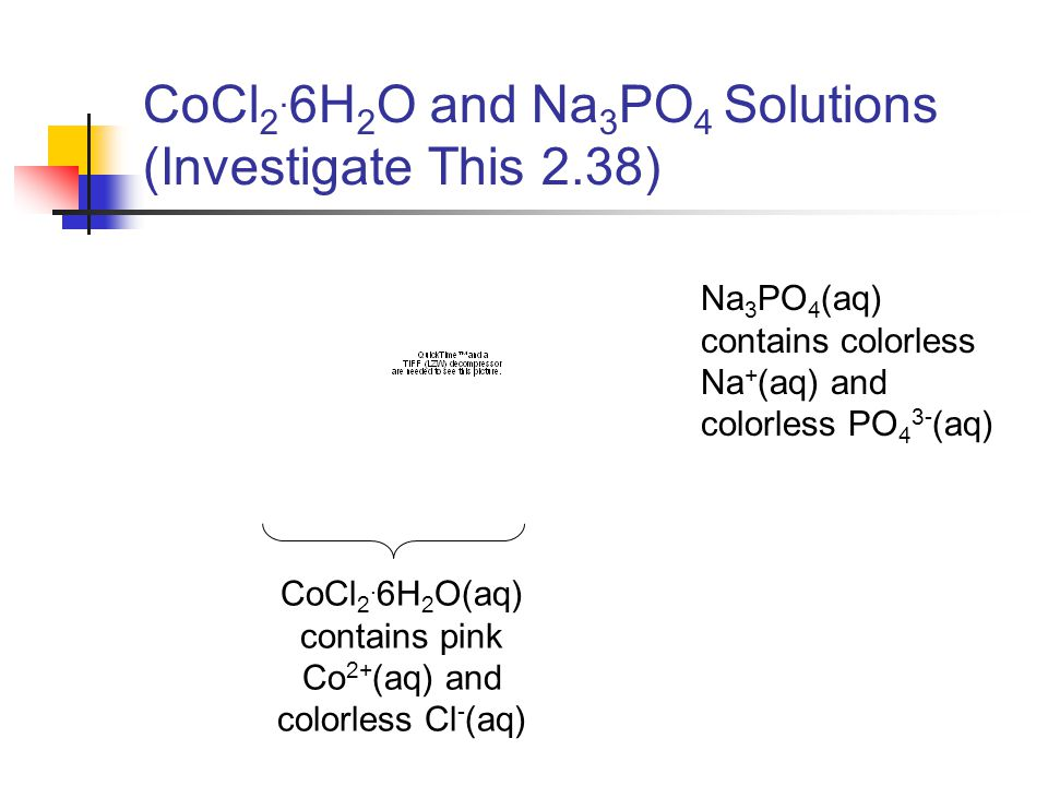 CoCl 2. 6H 2 O and Na 3 PO 4 Solutions (Investigate This 2.38) Na 3 PO 4 (aq) contains colorless Na + (aq) and colorless PO 4 3- (aq) CoCl 2. 6H 2 O(a