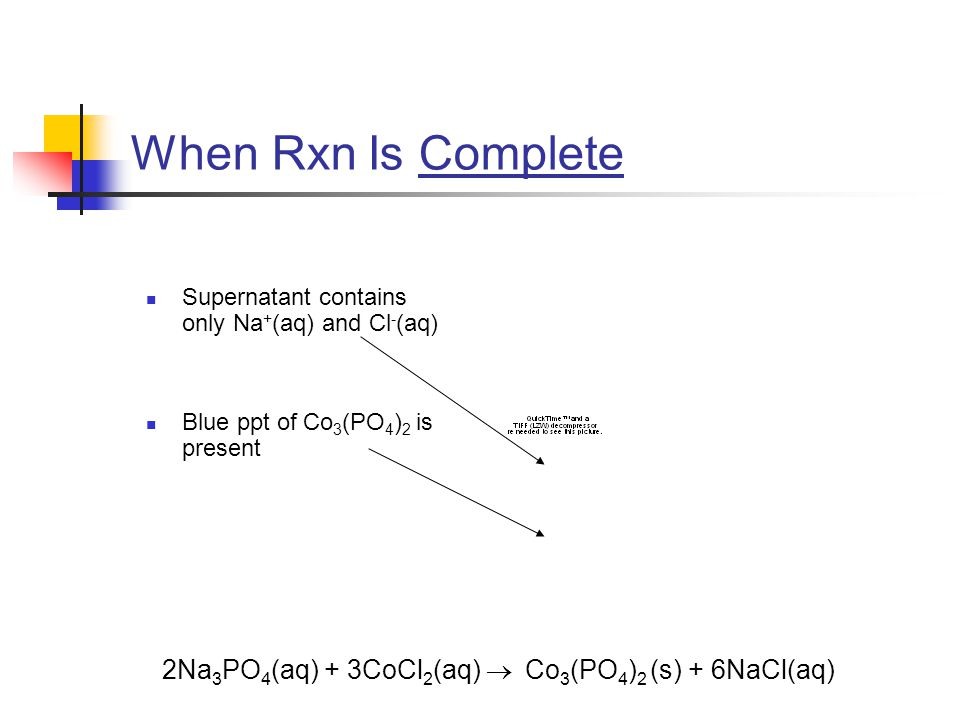When Rxn Is Complete Supernatant contains only Na + (aq) and Cl - (aq) Blue ppt of Co 3 (PO 4 ) 2 is present 2Na 3 PO 4 (aq) + 3CoCl 2 (aq)  Co 3 (PO 4 ) 2 (s) + 6NaCl(aq)
