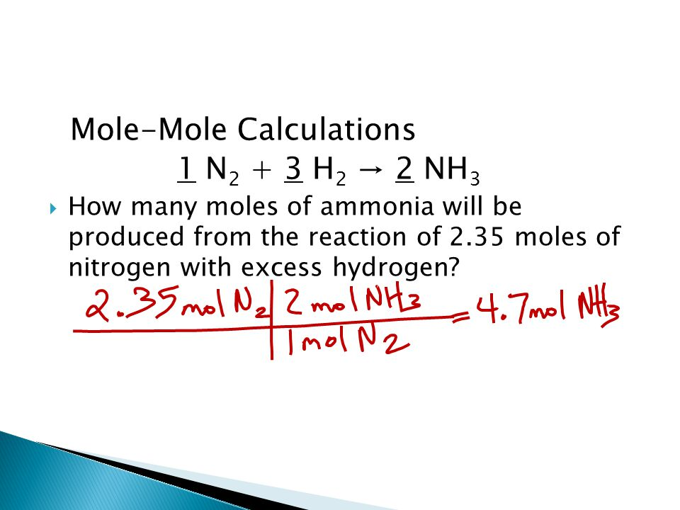 Mole-Mole Calculations 1 N 2 + 3 H 2 → 2 NH 3  How many moles of ammonia will be produced from the reaction of 2.35 moles of nitrogen with excess hydrogen