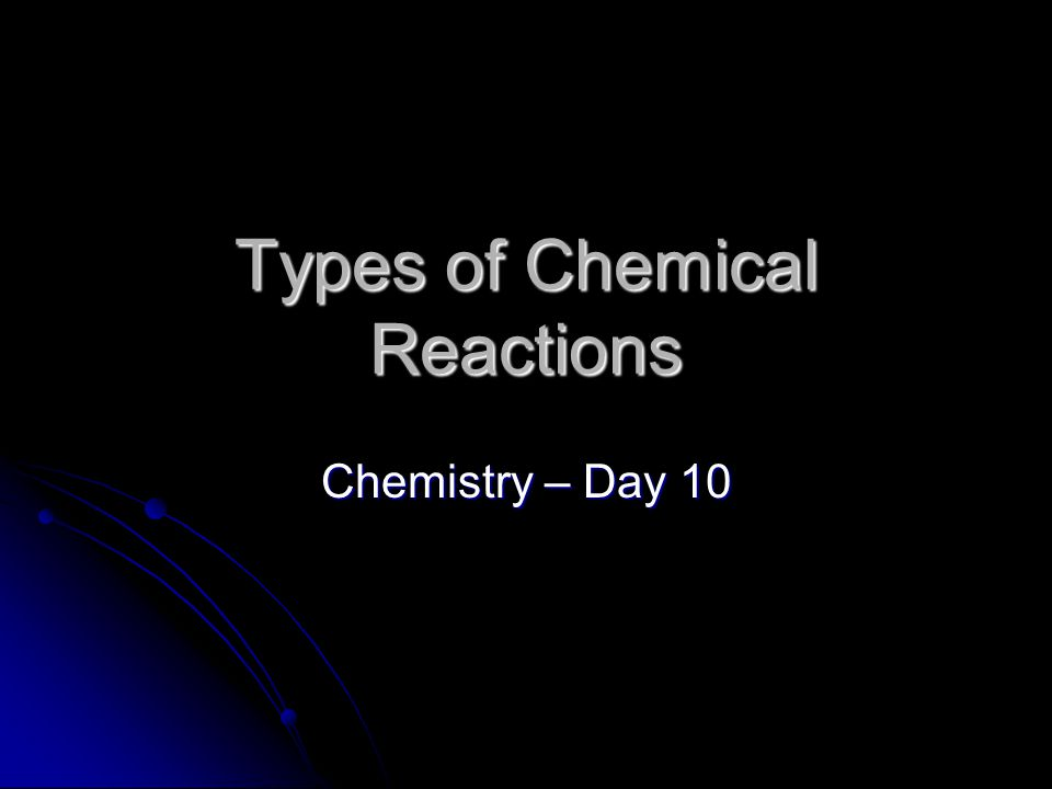 Types of Chemical Reactions Chemistry – Day 10