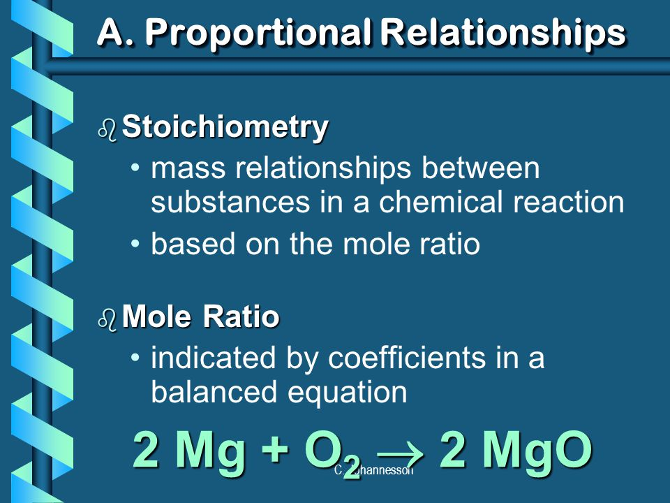 C. Johannesson A. Proportional Relationships b Stoichiometry mass relationships between substances in a chemical reaction based on the mole ratio b Mo