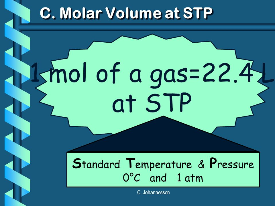 C. Johannesson 1 mol of a gas=22.4 L at STP C. Molar Volume at STP S tandard T emperature & P ressure 0°C and 1 atm