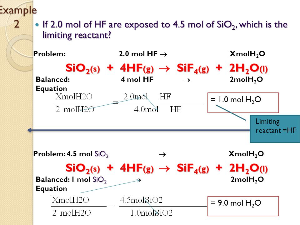 If 2.0 mol of HF are exposed to 4.5 mol of SiO 2, which is the limiting reactant.