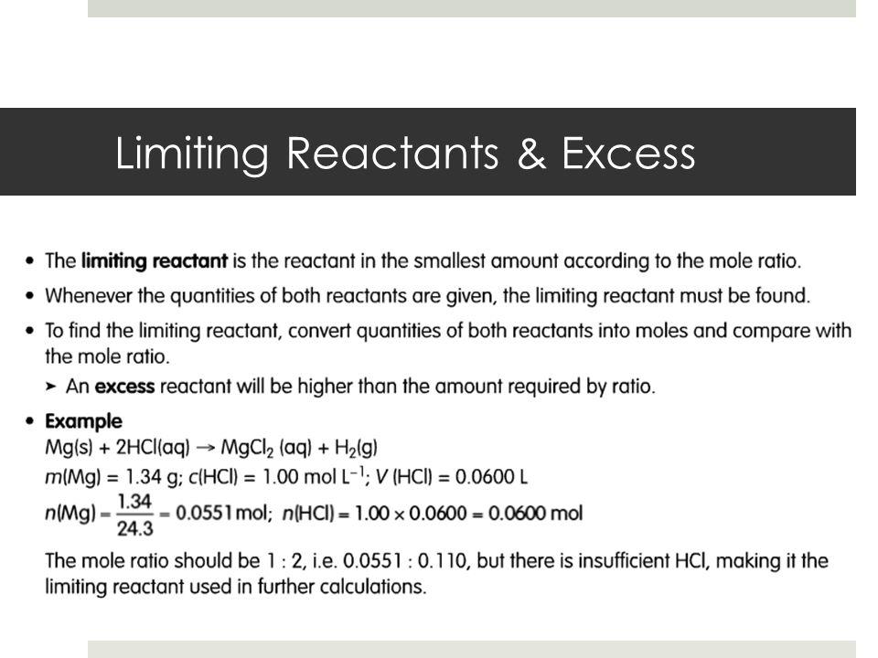 Limiting Reactants & Excess
