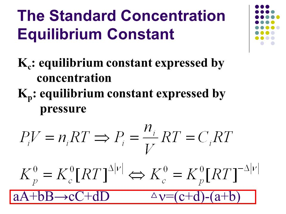 The Standard Concentration Equilibrium Constant K c : equilibrium constant expressed by concentration K p : equilibrium constant expressed by pressure aA+bB→cC+dD △ =(c+d)-(a+b)