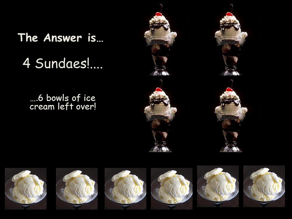 The Answer is… 4 Sundaes!.... ….6 bowls of ice cream left over!