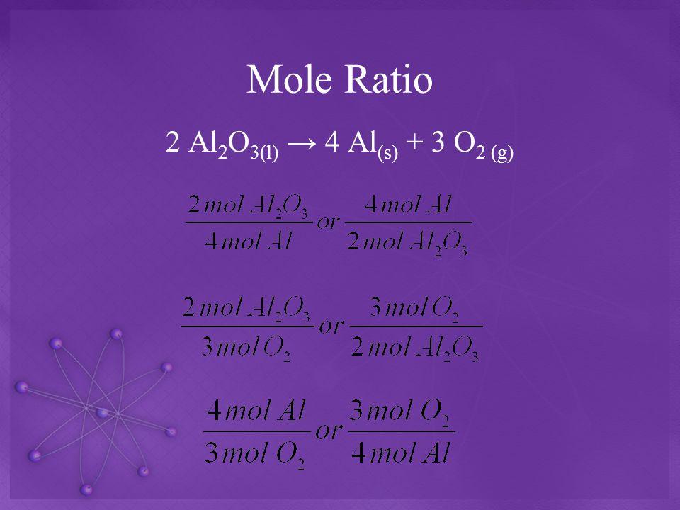 Mole Ratio 2 Al 2 O 3(l) → 4 Al (s) + 3 O 2 (g)