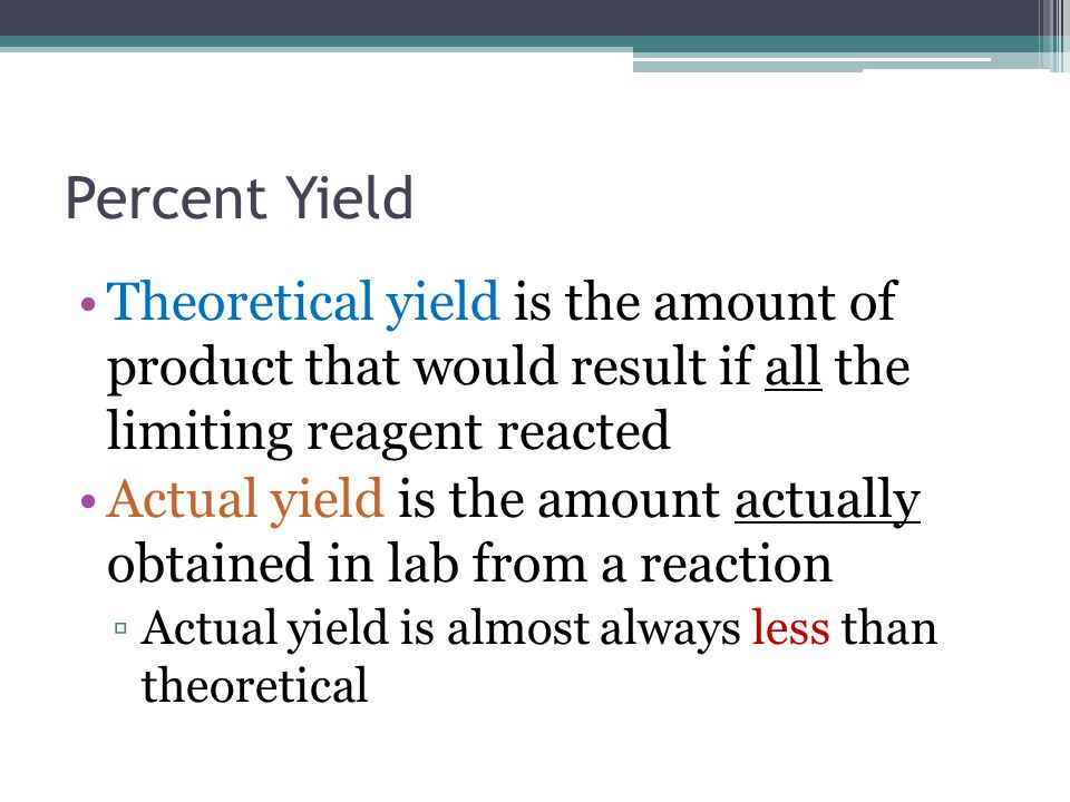 Percent Yield Theoretical yield is the amount of product that would result if all the limiting reagent reacted Actual yield is the amount actually obt