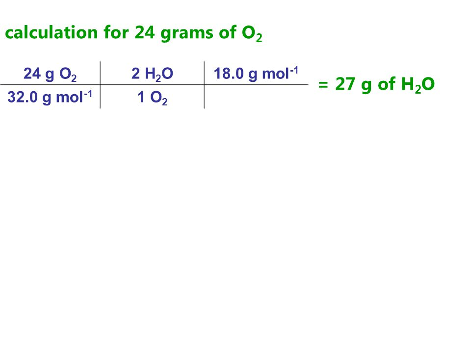 calculation for 24 grams of O 2 24 g O 2 2 H 2 O18.0 g mol -1 32.0 g mol -1 1 O 2 = 27 g of H 2 O