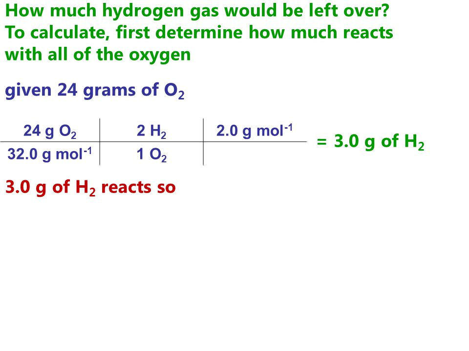 How much hydrogen gas would be left over.