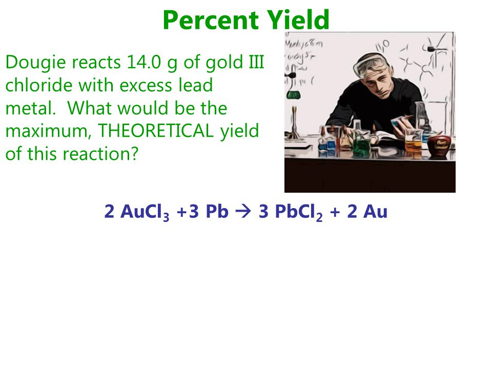 Percent Yield 2 AuCl 3 +3 Pb  3 PbCl 2 + 2 Au Dougie reacts 14.0 g of gold III chloride with excess lead metal.