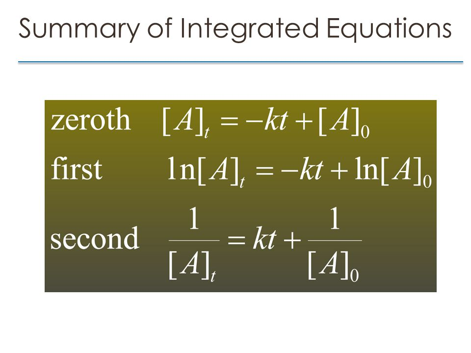 Summary of Integrated Equations