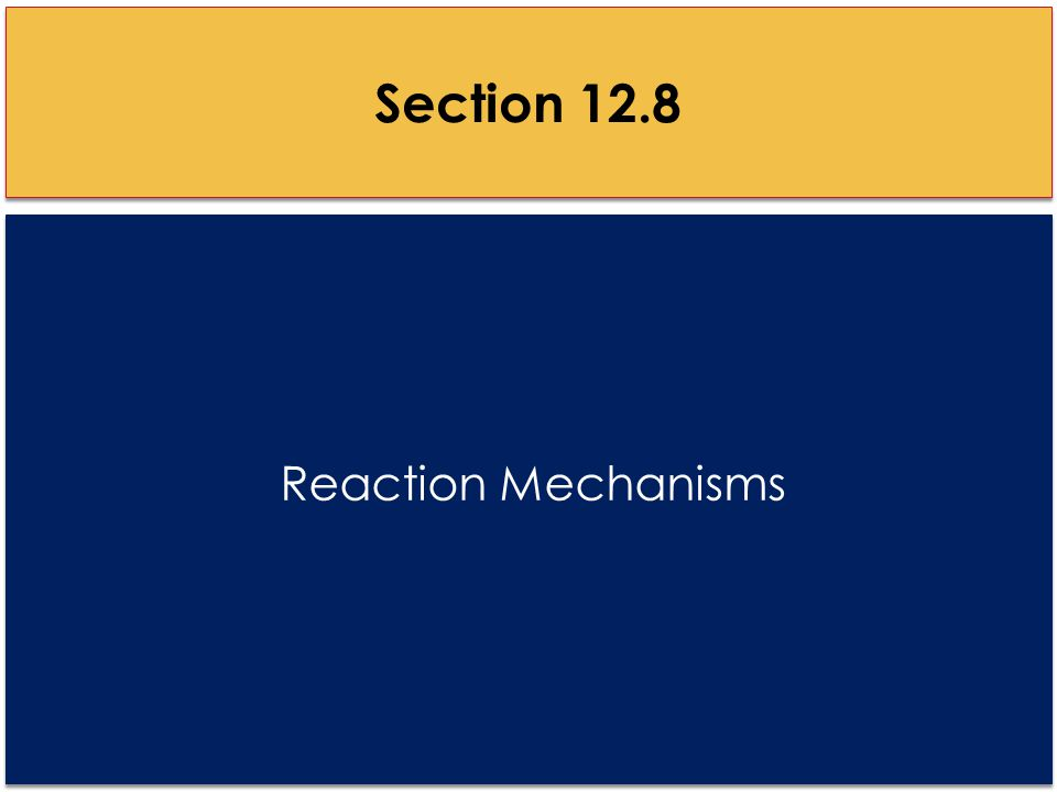 Reaction Mechanisms Section 12.8