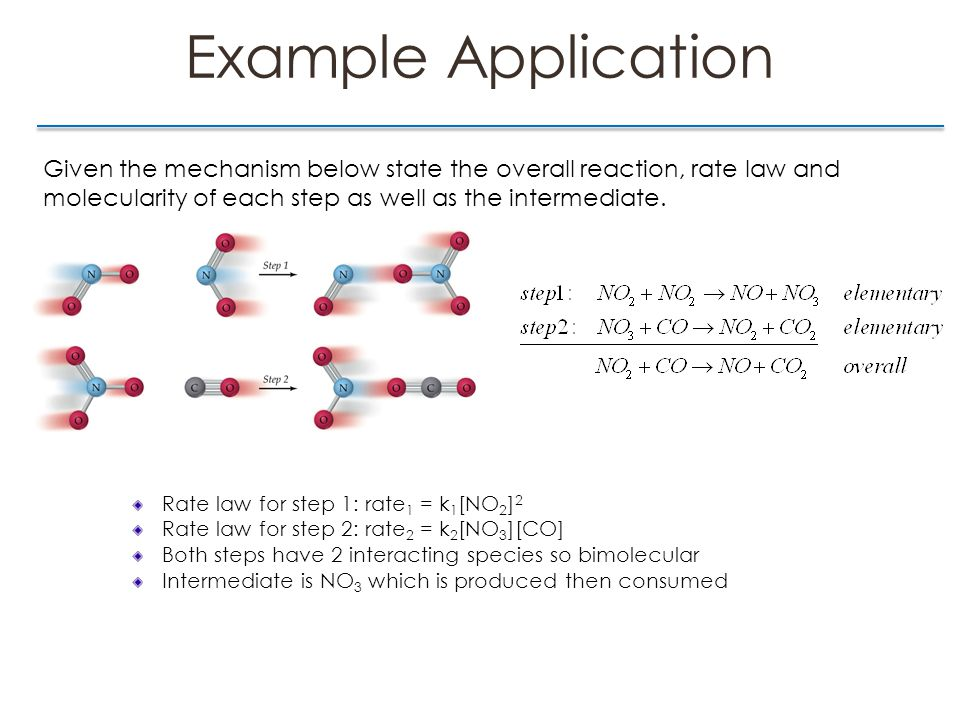 Example Application Given the mechanism below state the overall reaction, rate law and molecularity of each step as well as the intermediate.