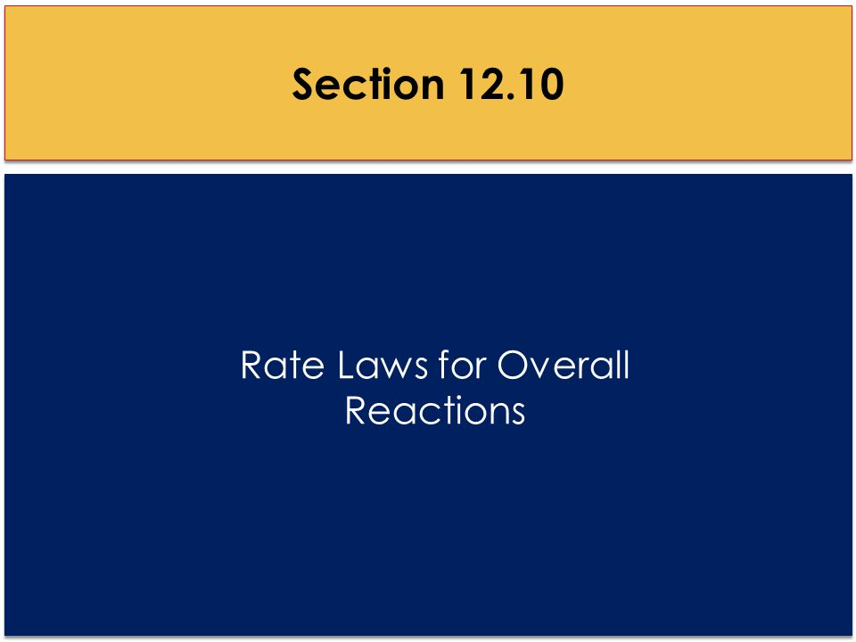 Rate Laws for Overall Reactions Section 12.10