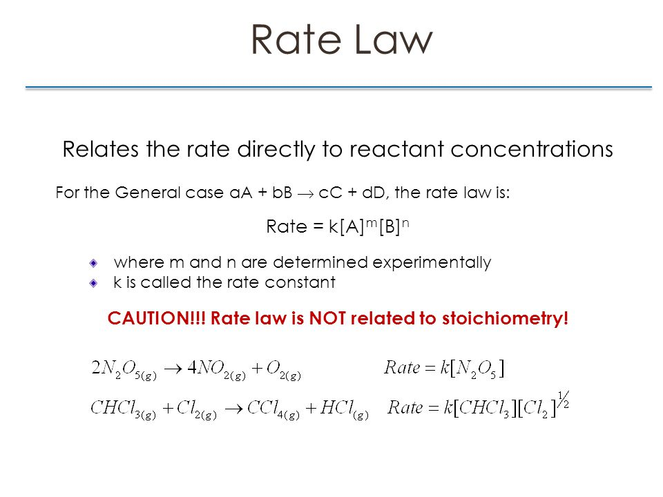 Rate Law Relates the rate directly to reactant concentrations For the General case aA + bB  cC + dD, the rate law is: Rate = k[A] m [B] n where m and n are determined experimentally k is called the rate constant CAUTION!!.