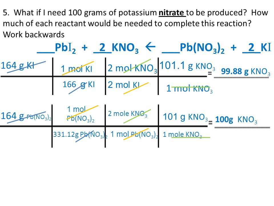 ___Pb I 2 + _2_KNO 3  ___Pb(NO 3 ) 2 + _2_K I 5. What if I need 100 grams of potassium nitrate to be produced? How much of each reactant would be nee