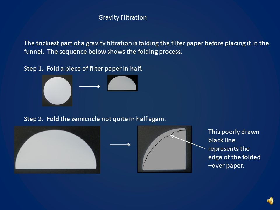 Technique Notes You will use two types of filtration in this experiment: Gravity filtration – Mixture is passed through filter paper through the influence of gravity.