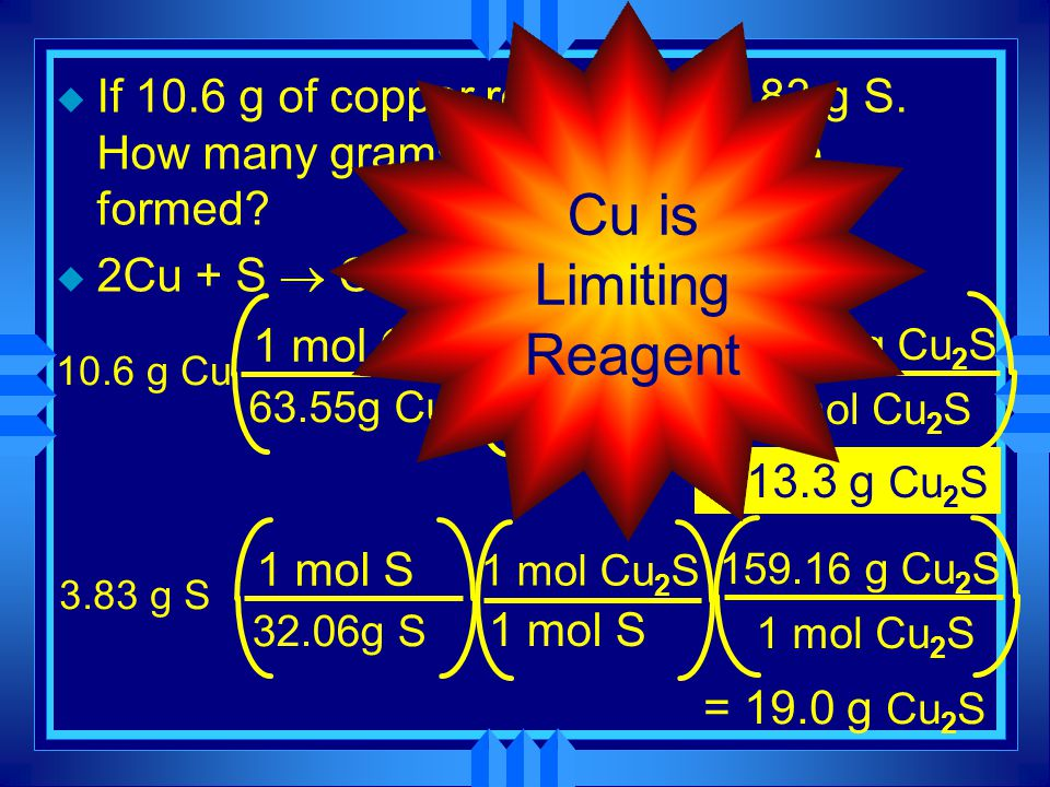 Calculating Limiting Reactant u Do two stoichiometry problems. u The one that makes the least product is the limiting reagent.