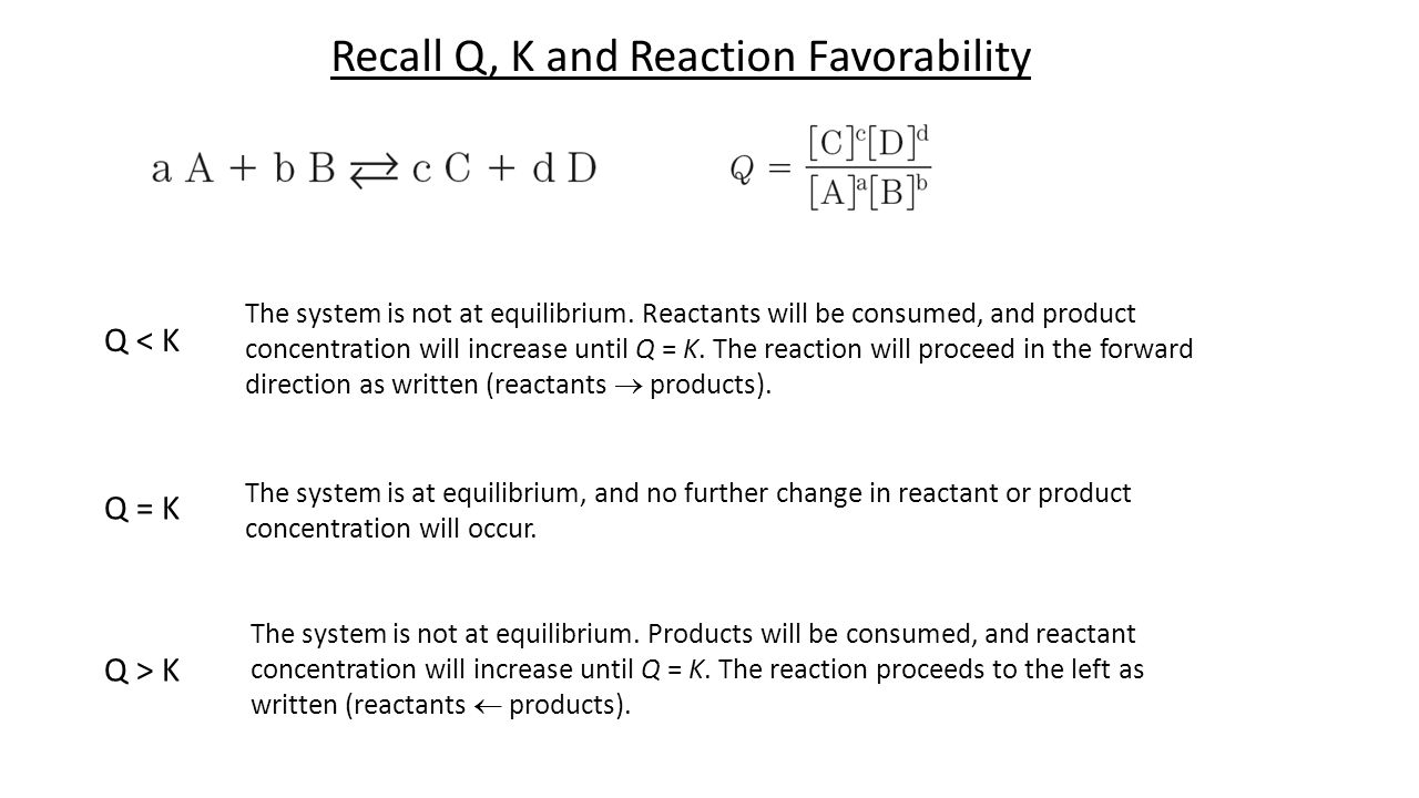 Recall Q, K and Reaction Favorability Q < K The system is not at equilibrium.