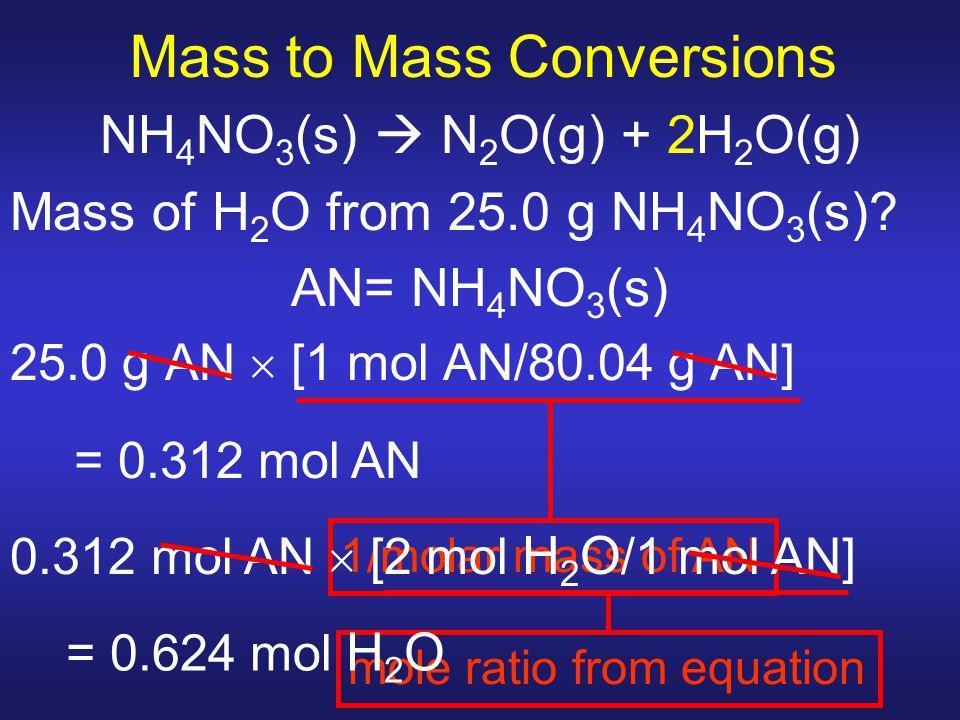 Mass to Mass Conversions NH 4 NO 3 (s)  N 2 O(g) + 2H 2 O(g) Mass of H 2 O from 25.0 g NH 4 NO 3 (s)? AN= NH 4 NO 3 (s) 25.0 g AN  [1 mol AN/80.04 g