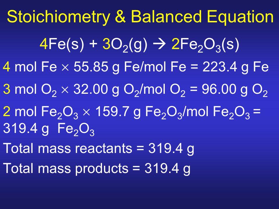 Stoichiometry & Balanced Equation 4Fe(s) + 3O 2 (g)  2Fe 2 O 3 (s) 4 mol Fe  55.85 g Fe/mol Fe = 223.4 g Fe 3 mol O 2  32.00 g O 2 /mol O 2 = 96.00