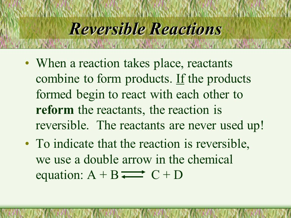 Changing the concentration of a reactant or product 2- Removing a reactant will cause the reverse reaction to speed up to replace the lost reactant.