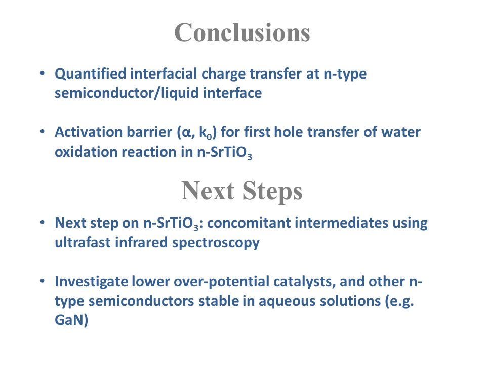 Conclusions Quantified interfacial charge transfer at n-type semiconductor/liquid interface Activation barrier (α, k 0 ) for first hole transfer of wa