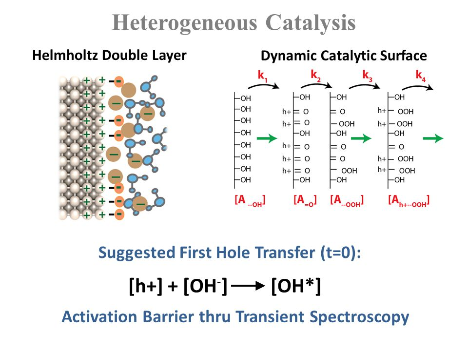 Challenges in Applying Ultrafast Spectroscopy to Catalysis Interplay of recombination and interfacial charge transfer Sensitivity to the surface Studying hetero-junctions (solid-solid, solid-liquid) Multi-electron transfer processes and clocking the cycle