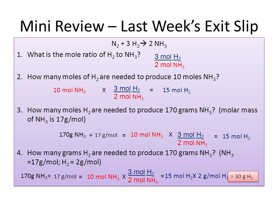 Mini Review – Last Week's Exit Slip N 2 + 3 H 2  2 NH 3 1.What is the mole ratio of H 2 to NH 3 .