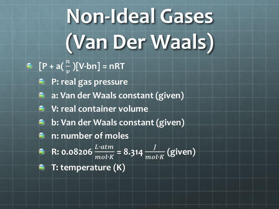 Non-Ideal Gases (Van Der Waals)