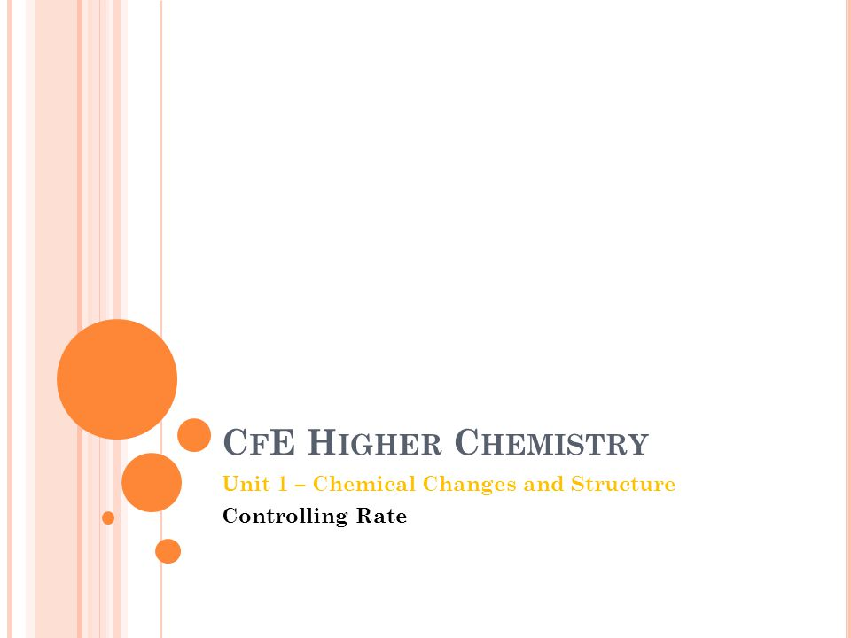 C F E H IGHER C HEMISTRY Unit 1 – Chemical Changes and Structure Controlling Rate