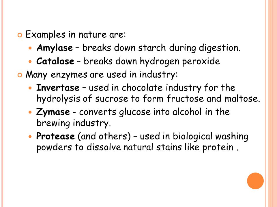 Examples in nature are: Amylase – breaks down starch during digestion. Catalase – breaks down hydrogen peroxide Many enzymes are used in industry: Inv