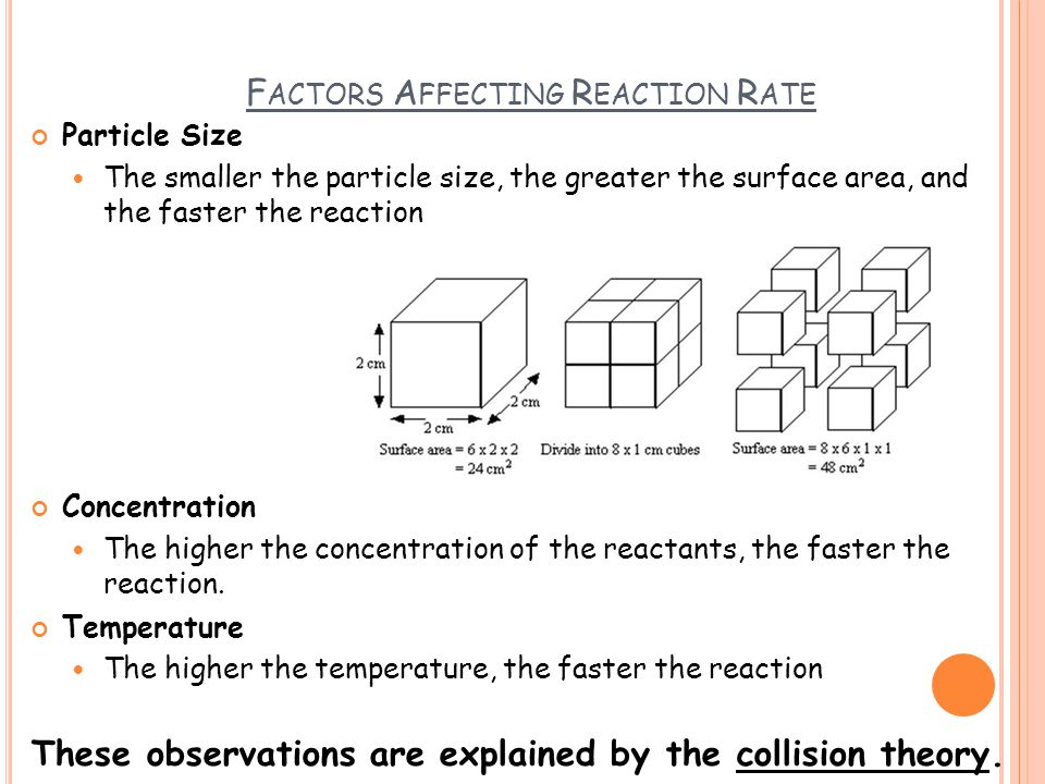 F ACTORS A FFECTING R EACTION R ATE Particle Size The smaller the particle size, the greater the surface area, and the faster the reaction Concentrati