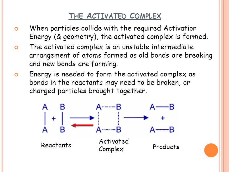 T HE A CTIVATED C OMPLEX When particles collide with the required Activation Energy (& geometry), the activated complex is formed. The activated compl