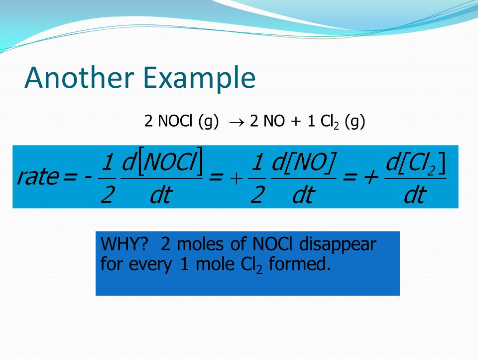 Another Example 2 NOCl (g)  2 NO + 1 Cl 2 (g) WHY.
