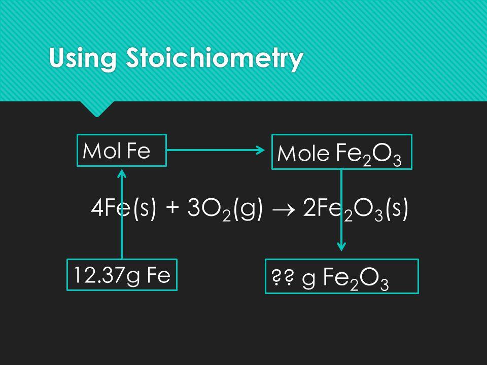 Using Stoichiometry 4Fe(s) + 3O 2 (g)  2Fe 2 O 3 (s) 12.37g Fe Mol Fe Mole Fe 2 O 3 ?? g Fe 2 O 3