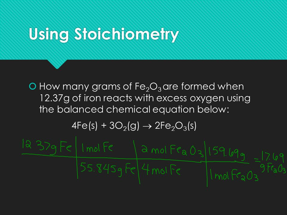Using Stoichiometry  How many grams of Fe 2 O 3 are formed when 12.37g of iron reacts with excess oxygen using the balanced chemical equation below: