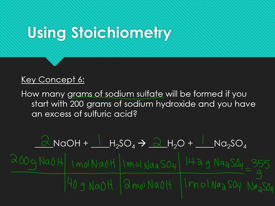 Using Stoichiometry Key Concept 6: How many grams of sodium sulfate will be formed if you start with 200 grams of sodium hydroxide and you have an exc