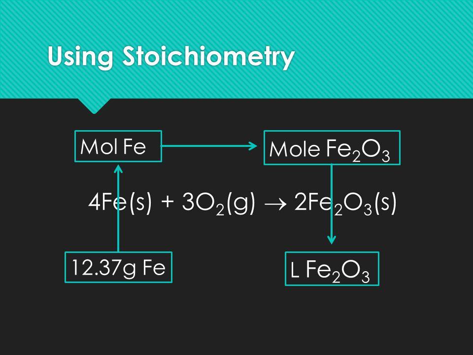 Using Stoichiometry 4Fe(s) + 3O 2 (g)  2Fe 2 O 3 (s) 12.37g Fe Mol Fe Mole Fe 2 O 3 L Fe 2 O 3