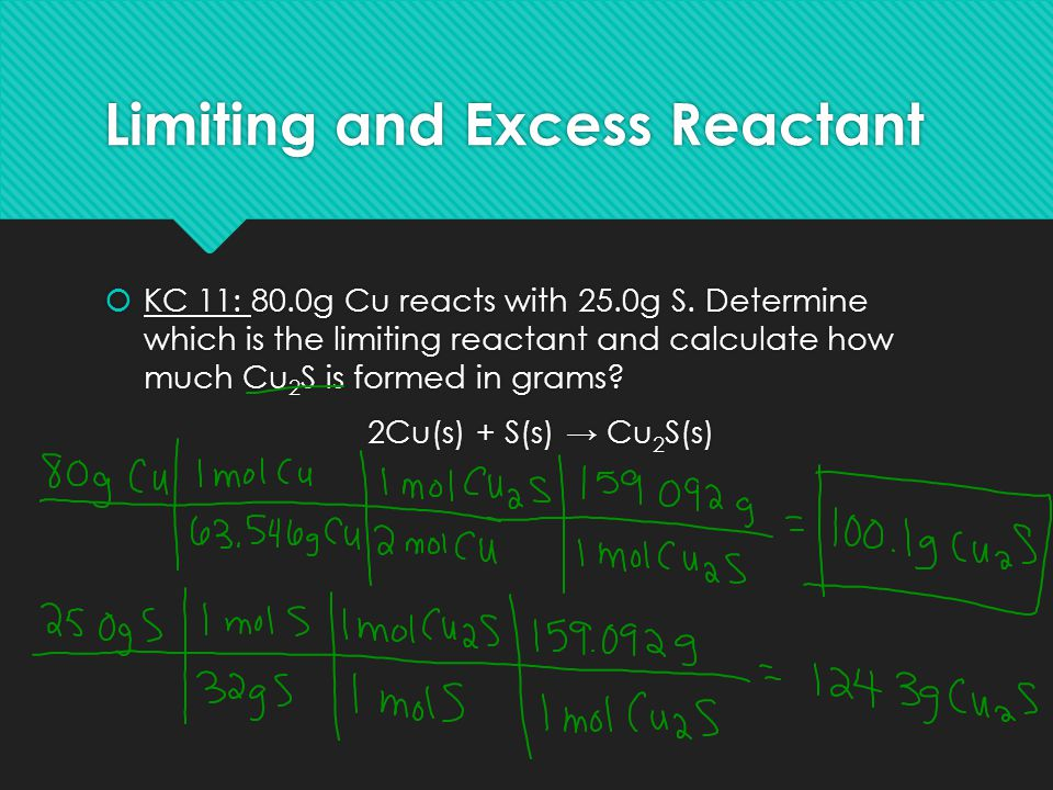 Limiting and Excess Reactant  KC 11: 80.0g Cu reacts with 25.0g S. Determine which is the limiting reactant and calculate how much Cu 2 S is formed i