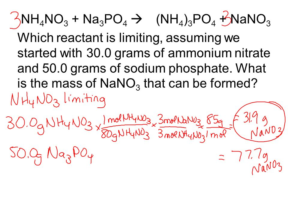 NH 4 NO 3 + Na 3 PO 4  (NH 4 ) 3 PO 4 + NaNO 3 Which reactant is limiting, assuming we started with 30.0 grams of ammonium nitrate and 50.0 grams of sodium phosphate.