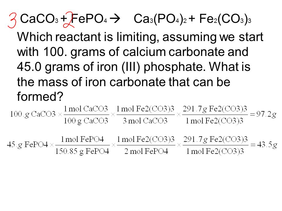 CaCO 3 + FePO 4  Ca 3 (PO 4 ) 2 + Fe 2 (CO 3 ) 3 Which reactant is limiting, assuming we start with 100. grams of calcium carbonate and 45.0 grams o