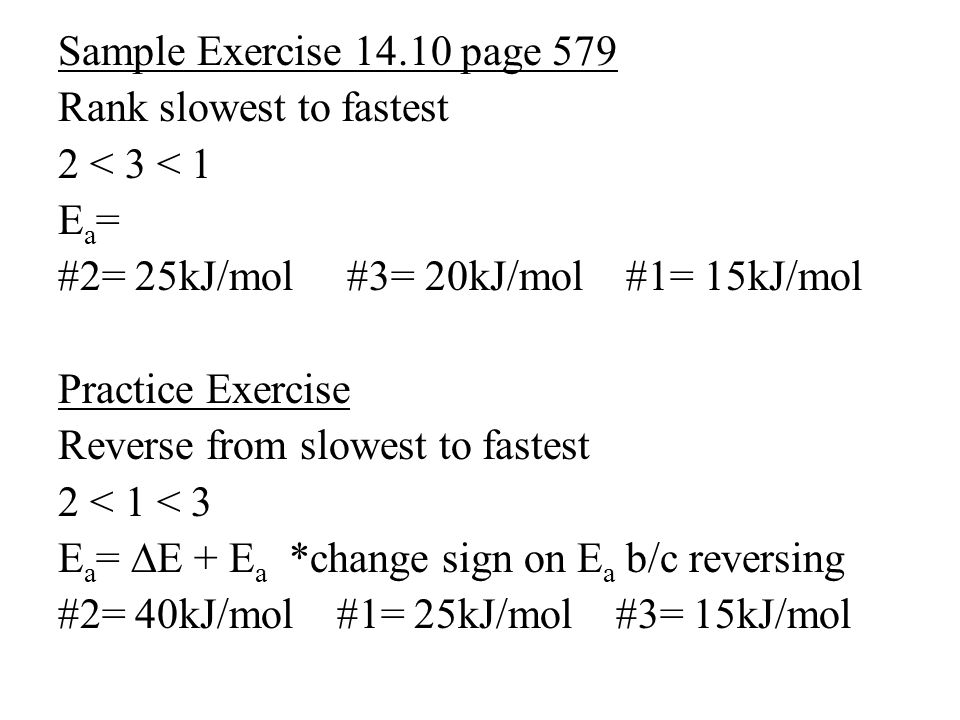 Sample Exercise 14.10 page 579 Rank slowest to fastest 2 < 3 < 1 Ea=Ea= #2= 25kJ/mol #3= 20kJ/mol #1= 15kJ/mol Practice Exercise Reverse from slowest to fastest 2 < 1 < 3 E a = ∆E + E a *change sign on E a b/c reversing #2= 40kJ/mol #1= 25kJ/mol #3= 15kJ/mol
