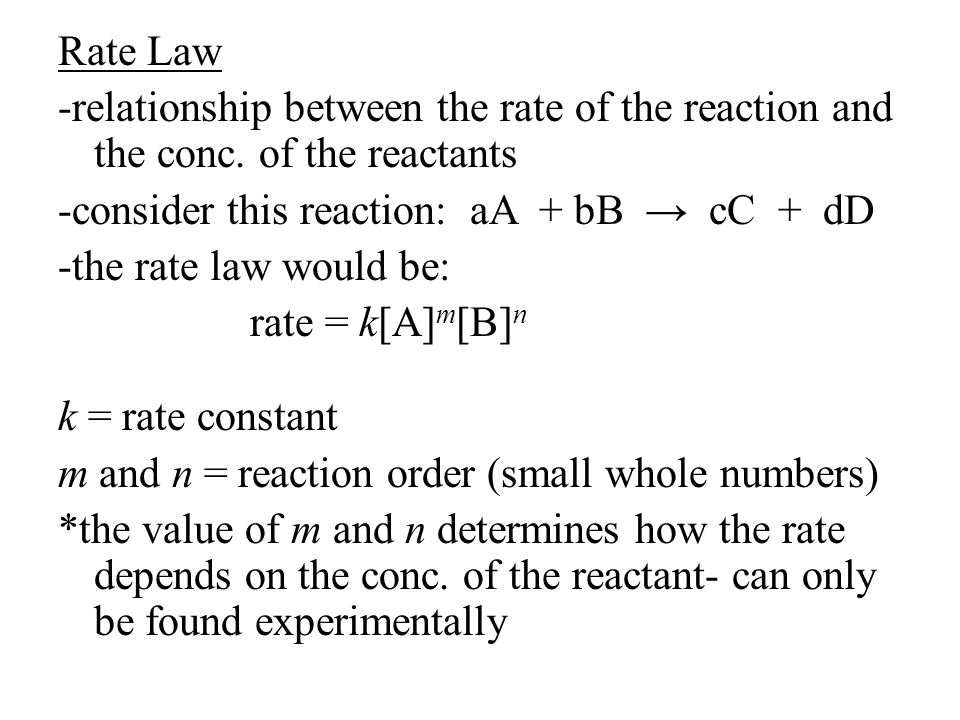 -to find reaction order, look at two values of a reactant that do not change -see what happens to the rate when the other reactant is changed *if the rate change is the same as the conc.