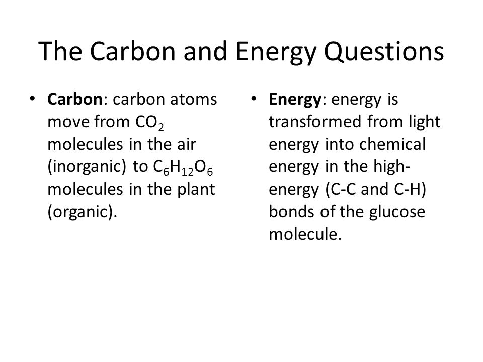 The Carbon and Energy Questions Carbon: carbon atoms move from CO 2 molecules in the air (inorganic) to C 6 H 12 O 6 molecules in the plant (organic).