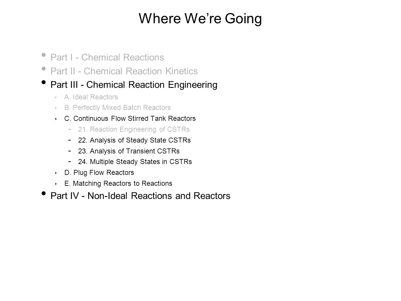 Where We're Going Part I - Chemical Reactions Part II - Chemical Reaction Kinetics Part III - Chemical Reaction Engineering ‣ A.